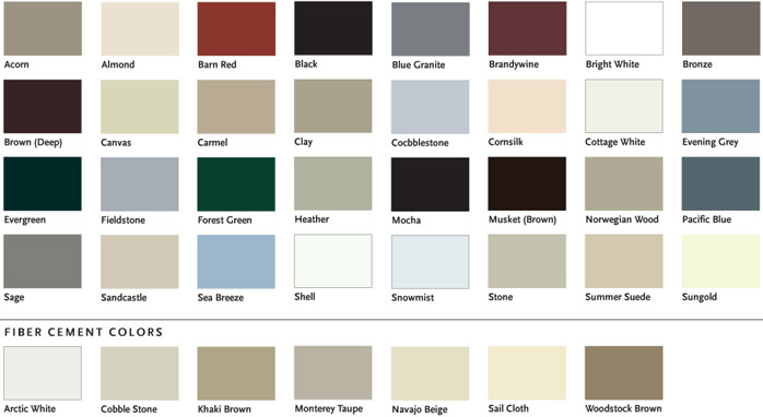 Norandex Vinyl Siding Color Chart Variform Siding Colors